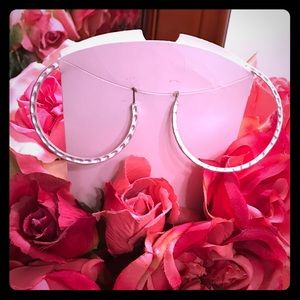 Big silver round hoop earrings